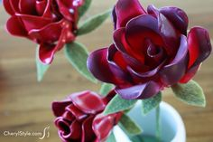 You'd never guess our roses are actually plastic spoon flowers! They are much more fun than silk flowers, cost less and you can match them to your décor.