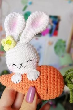 An adorable crochet bunny with carrot! Use this free amigurumi pattern to create your own bunny. You need YarnArt Jeans yarn and mm crochet hook. Crochet Amigurumi, Amigurumi Patterns, Crochet Dolls, Amigurumi Doll, Tiny Bunny, Easter Crochet Patterns, Crochet Rabbit, Holiday Crochet, Handmade Toys