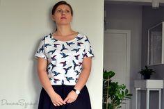 DomoweSzycie.pl: Wiosenny komplet, czyli spódnica z koła i bluzeczka. Szycie krok po kroku.