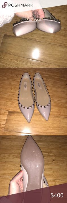 Valentino Flats- size 7 1/2 (worn once) Ugh these are amazing but I never wear them. Attempting to clean out my closet/ I would never get rid of these otherwise.   These are a size 7.5 - worn one time pair of Valentino Rockstud Flats. I am usually a seven and I got a 7.5 and they fit fine.   Color is a cool light pink patent with rock studs around the shoe. These are in stellar condition. Grab them quick. Valentino Shoes Flats & Loafers