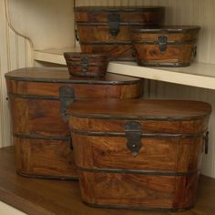 THE WELL APPOINTED HOUSE - Set of Five Wood and Iron Storage Boxes - Decorative Boxes - Decorative