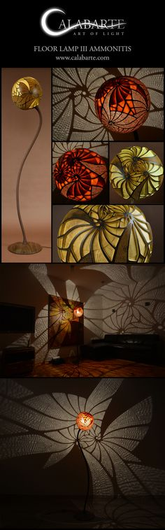 "Floor lamp III ""Ammonitis"" by Calabarte. Unique, handcrafted lamp made of Guinean gourd."