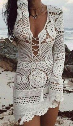 Desert Rose Dress White Crochet Lace Up Front Boho Mini Long Sleeve Ma – Made4Walkin Crochet Beach Dress, Crochet Summer Dresses, Crochet Lace, Knit Dress, Crochet Pattern, White Crochet Top, Mode Hippie, Mode Crochet, Diy Kleidung