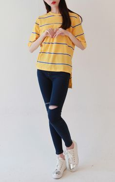 striped tshirt + jeans