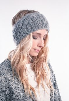Grey Knitted Headband Ear Warmer Head wrap Winter by barmine