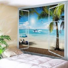 Belcony Beach Print Tapestry Wall Hanging Art Decoration - LAKE BLUE W79 INCH * L59 INCH