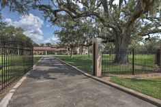 Main Auto Gate  - there are two auto gates on this property - one for entering and the other for exiting. Other notable features: 2,592 square feet of covered porch area and a 4 car garage   2 car porte-cochere.