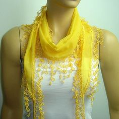 YELLOW scarf with lace fringed edge by istanbuloya on Etsy, $15.00