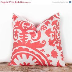 WINTER SALE Coral Decorative Throw Pillow Covers. by LilyPillow, $11.90