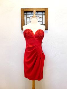 Little Red Dress Vintage Strapless by RedsThreadsVintage on Etsy