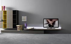 LED TV Wandwand - modernes Wohnzimmer mit einem LED-Board als Highlight