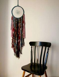 Large Boho dream catcher, yarn wall hanging, gypsy decor, crystal hanging, crochet hanging, feather decor, bedroom wall decor by handmadebyfofo on Etsy https://www.etsy.com/listing/219037241/large-boho-dream-catcher-yarn-wall