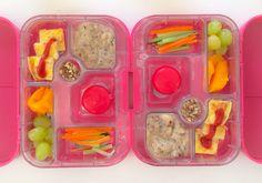 29052014 - carrot & paneer omelette w/ ketchup, banana flax hazelnut peanut butter porridge, babybel cheese, carrot & cucumber sticks, grape, mango, date-almond roll