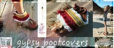 Dress up your boots with these lovely Boho/gypsy boots cuffs , which you can easily tie around your own cool boots, to give them a new outfit and a bit of bohemian touch Each pair are absolutely unique, only one pair each. Handcrafted boot wraps. (Boots are not included in your purchase.)  If you have any question or need more  information about the articles, please don't hesitate to contact idantite.itssoyou@gmail.com