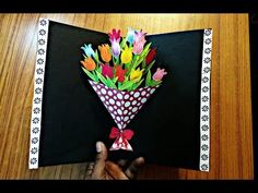 DIY Flower Bouquet Pop up Card-Paper Crafts-Handmade Craft- Mother's Day card! - YouTube