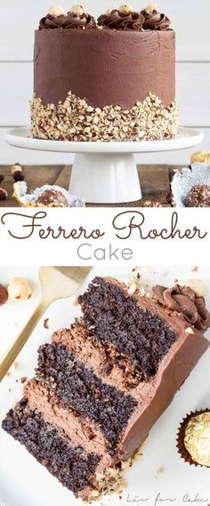 This Ferrero Rocher Cake is your favourite chocolate hazelnut treat in cake form! Chocolate hazelnut cake layers and with a Nutella buttercream. Matilda Chocolate Cake, Beattys Chocolate Cake, Chocolate Desserts, Nutella Cake, Chocolate Cream, Nutella Birthday Cake, Ferrero Chocolate, Rocher Chocolate, Nutella Muffins