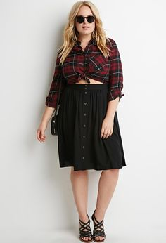 Fall outfit idea #plusize  Buttoned A-Line Skirt
