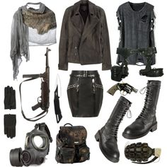 """Post apocalyptic"" by vervainn on Polyvore. At first I didn't like the gas masks, but...acid fog."