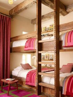 Kelly and Abramson Architecture: Girls ski chalet bunk room with rustic built-in bunk beds and exposed wood beamed . - Feste Home Decor Girls Bunk Beds, Bunk Bed Rooms, Bunk Beds Built In, Kid Beds, Girls Bedroom, Bedroom Ideas, Bedroom Decor, Bedroom Rustic, Design Bedroom