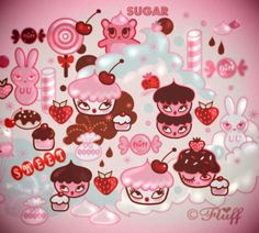 A Fluff sugary sweet fantasy sketch with cupcakes and candy galore! by Miss Fluff http://fluffshop.com