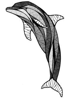 PUNTO Y LÍNEA DENTRO DE SILUETA  dolphin