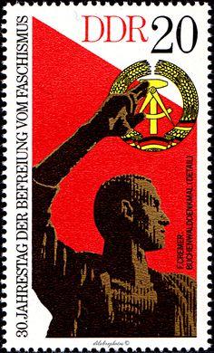 German Democratic Republic.  30th ANNIVERSARY OF FREEDOM FROM FASCISM.  BUCHENWALD MEMORIAL (DETAIL).  Scott 1640 A500, Issued 1975 May 6, 20.  /ldb.  (MINT)