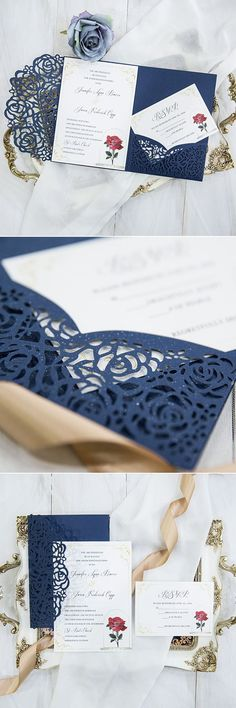 Beauty and the Beast navy blue laser cut pocket wedding invitation suites