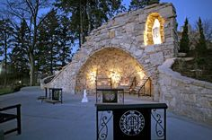 Benedictine's Marian grotto :)  Favorite place on campus! It is so beautiful!