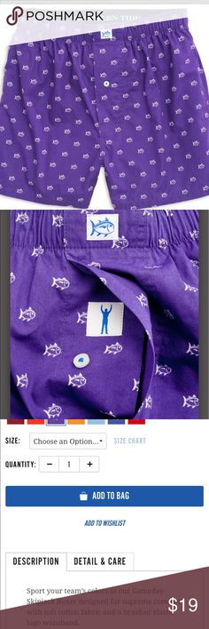 Southern Tide Gameday Skipjack Boxer shorts Purple with Southern Tide fish print. NWOT.  Gave these to my husband for Christmas. He opened but never wore. Southern Tide Underwear & Socks Boxers