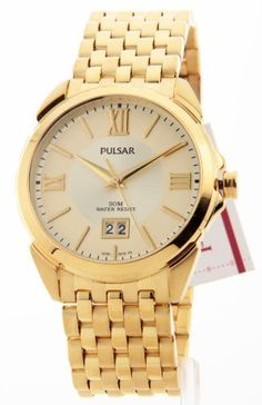 """Mens Pulsar Gold Tone Stainless Steel Date 5ATM Dress Watch PQ5050 by Pulsar. $69.99. ****Watch Stats**** [FACE] * Style: Analog * Shape: Round * Size: 41mm / 1-5/8 * Color: Gold * Hands: Gold tone Swords * Hour Markers: Gold tone Roman Numerals & Sticks * Misc: Date at """"6"""" PositionGold tone Second Hand [BAND] * Material: Stainless Steel * WristSize: 5"""" to 8-1/4"""" * Width: 22mm / 7/8"""" * Color: Gold * Clasp: Pushbutton Foldover * Misc: Ten 5/16"""" Removable Links"""""""
