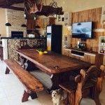 churrasqueira com mesa rustica