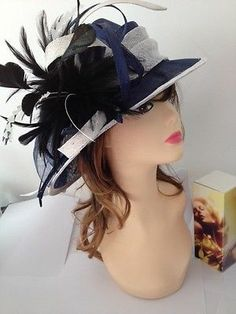 8b5266c9dde 2014 NEWest Church Kentucky Derby Sinamay WIDE BRim Blue with Feather Hat  Sinamay Hats
