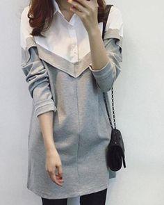 3fad570c5fa6b Plus Size Shirt Collar Women Shift Daytime Casual Cotton Paneled Dress