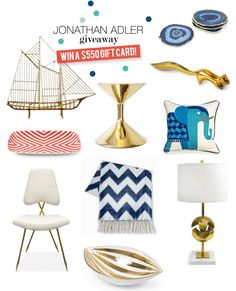 HUGE $550 Jonathan Adler Giveaway! On SMP Living now!  Read more - http://www.stylemepretty.com/living/2013/09/16/550-jonathan-adler-giveaway/