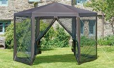 Enjoy summer days and relax outside the house with the help of this gazebo that comes with a black net to keep mosquitoes out