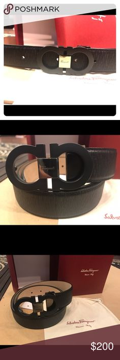 Salvatore Ferragamo Matte Black Calfskin Belt Authentic Salvatore Ferragamo Classic Matte all black Calfskin leather belt with a small Buckle. Made in Italy. Height is 1.3 inches. This is a brand new belt with tags & comes with box, dust bag and shopping bag. Guarantee 1. Fast shipment 2. Item same as photo 3. Whatever is listed is available. 4. Satisfaction guaranteed. **Men's & Womens sizes available. **Give & Receive a fast rating! ***This belt is adjustable and can be cut to size for any…
