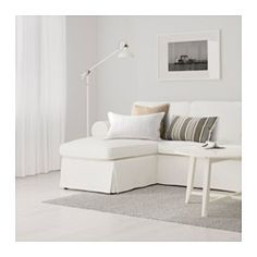 IKEA - EKTORP, Sectional, 3-seat, in white with removable slip covers, .The cover is easy to keep clean as it i...