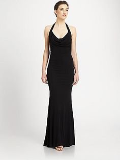 7e22c6ea7ee60 ABS Cowlneck Halter Gown from Saks Fifth Avenue.