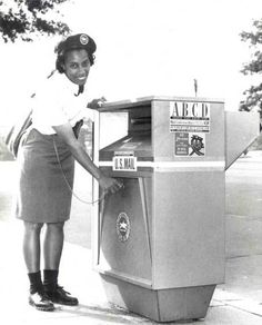 Mail Carrier Evelyn Brown, 1967. Washington D. C. NEVER SAW A BOX LIKE THIS. . .I HOPE YOU'LL FOLLOW ANY OF MY 5 GREAT BOARDS CONCERNING THE POST OFFICE MAILMEN VEHICLES MAILBOXES AND OTHER THINGS