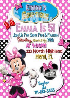"Printable ""MINNIE MOUSE INVITATION"" - Minnie's Bow-tique Birthday Party Invitation - Minnie's Boutique Birthday Invite - Minnie Mouse Party"