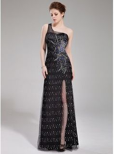 Sheath One-Shoulder Floor-Length Tulle Charmeuse Prom Dress With Beading (018019690)