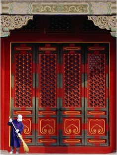 Cleaner Sweeps Steps Inside The Forbidden City., Beijing, China, Phil Weymouth ~ Photographer.