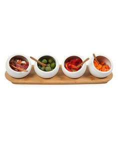 Wing Sauce?  Keep savory dips and crudités superbly separate with these sweet serving bowls. With a coordinating tray to keep them all in place, this set is sure to be a party pleaser.