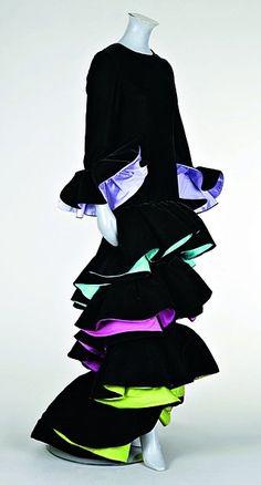 Roberto Capucci black velvet flamenco-style ball gown, mid 1980s