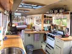 Romantic weekend breaks near London - van life Bus Living, Tiny House Living, Living Room, School Bus Tiny House, Kombi Home, Campervan Interior, Airstream Interior, Bus Interior, Vintage Airstream
