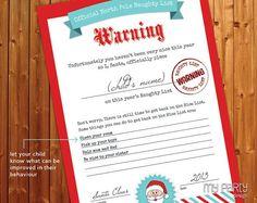 santa NAUGHTY LIST CERTIFICATES | Naughty and Nice List PRINTABLE ...