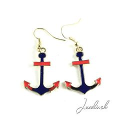 ohrringe online Messing, Jewels, Detail, Fashion Jewellery Online, Earrings Online, Jewelry Shop, Red Color, Anchors, Enamels