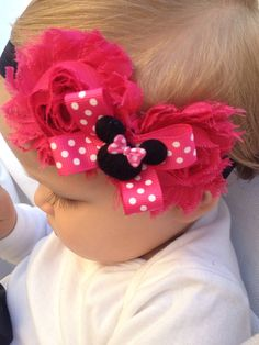 Minnie Mouse headband Hot Pink by SummerJadeBoutique on Etsy