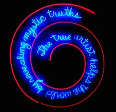 Bruce Nauman,The True Artist Helps the World by Revealing Mystic Truths, 1967, neon and clear glass tubing suspension supports; 149.86 x 139.7 x 5.08 cm (Philadelphia Museum of Art) (photo:Giulia van Pelt,CC BY-NC-ND 2.0)
