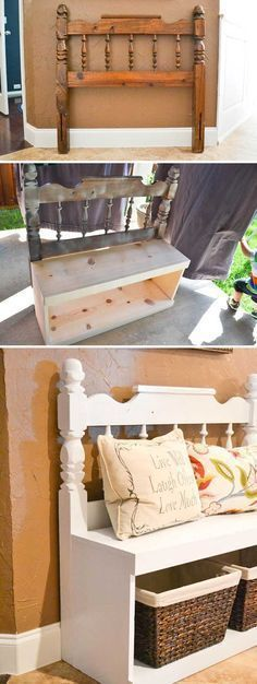 Entryway bench made from an old headboard and some boards.
